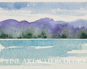 ACEO Original Watercolor Painting Lake Landscape Purple Mountains Water Abstract Small Miniature Tiny Paintings  2 1/2 x 3 1/2 Trading Card