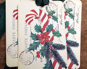Retro Candy Cane Postcard Christmas Gift or Scrapbook Tags or Magnet #563