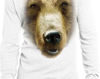 Men's Funny Shirt Big Grizzly Bear Face Long Sleeve Thermal Tee T-Shirt 17936D0-DT118