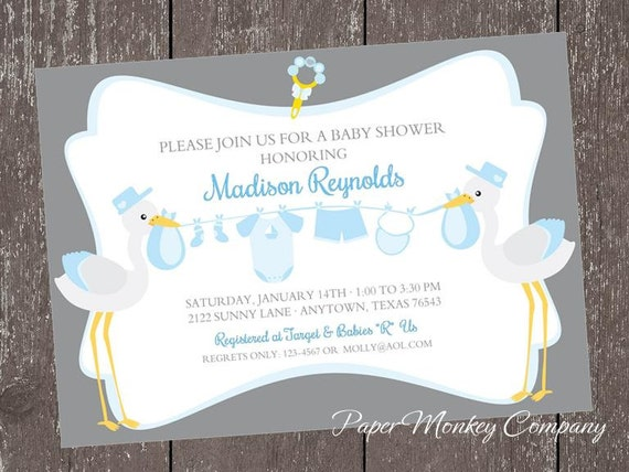Its a boy stork baby shower invitations 100 each filmwisefo