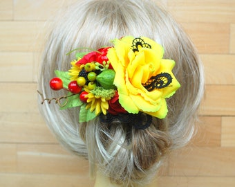 yellow red green bridal fruits hair comb, carmen miranda themed hair accessories, rockabilly pin up hair clip, fruits headpiece, props