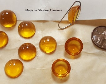 12 Vintage West German Glass Topaz 13mm. Smooth Round Cabochons 4779