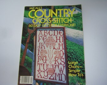 McCall's Country Cross Stitch Magazine, OOP, 1983, Cross Stitch Magazine, 60 Easy Patterns, Paperback, Craft Patterns, Used Condition