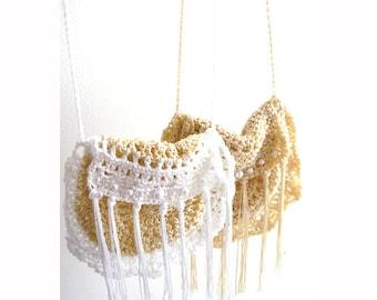 Fringe crochet purse- Handmade beige embellished handbag-Vintage inspired pearls bag-Chic, hippie boho crochet purse- women gift
