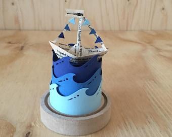 3D Paper Cutting kit, Boat Papercutting, DIY kit, 3D Papercut template, 3D Paper templates, Papercut Kit, Papercut 3D Kit