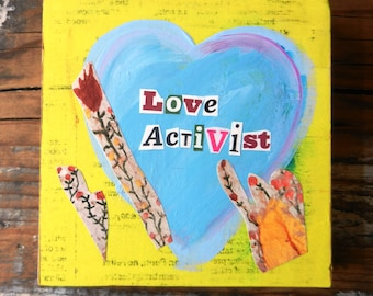 Love Activist Small Wood Collage
