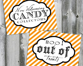 Halloween Print - Fall Print - Trick or Treat Print - Set of 2 - Now Welcoming Candy Collectors and Boo!  Out of Treats