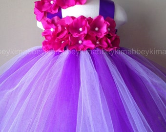Beautiful tutu dress ,first birthday tutu dress in purple ,lavender with fuchsia flowers for baby girls  12-18 months with matching headband
