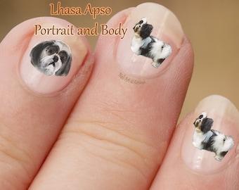 Hond Nail Art Stickers, Lhasa Apso Nail Stickers, Lhasa Apso Nail Art, nagel-Stickers, stickers, fotografische nail art