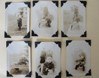 """Antique vintage sepia photo collection - six photos - 2"""" x 3"""" - 1930s - child and wagon"""