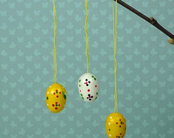 Vintage Easter egg ornaments set of three 1970s wooden yellow white floral