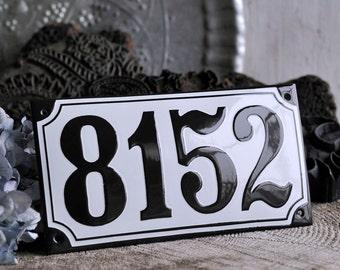 "Enamel House Number 8 1/4"" x 4 3/8"" (21 x 11 cm)"