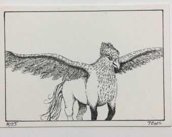 Buckbeak - Original pen & ink ACEO - Harry Potter
