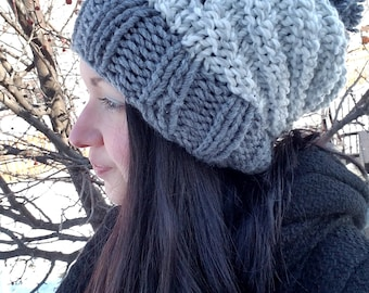Gray Slouchy Knit Hat