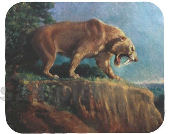 Mouse Pad; Saber Tooth Tiger Smilodon From 1905