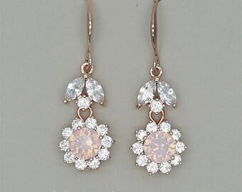 Pink Bridal Earrings Bridesmaid Earrings Rose Water Opal Swarovski Crystal dangle Earrings Rose Gold Jewelry for Wedding Bridesmaids Gift