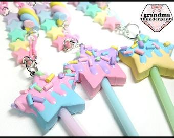 Pastel Star Pop Necklace, Fairy Kei, Decora, Sweets, Handmade Star Jewelry