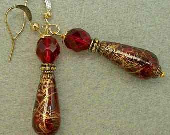 Vintage Czech RED Crystal Glass Bead Dangle Drop Earrings, Vintage Japanese Gold Splatter Lucite Teardrops,Gold Ear Wires - GIFT WRAPPED