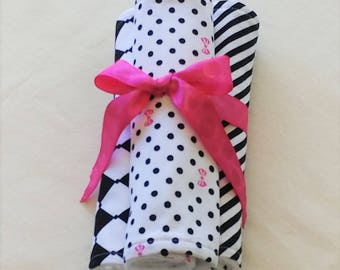 Prissy Pockets, BLACK AND WHITE Burp Cloths, Set of 3 Burp Cloths, Baby Shower Gift, Little Girl's Burp Cloths