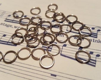 7mm Stainless Steel Jump Rings - 100 pcs.- Silver Jump Rings - Close Unsoldered - Jump Rings