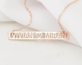 Custom Name Necklace - Cut Out Bar - Message Inspirational Necklace - Personalized jewelry - Family Necklace - Gift for Her - Mother's Gift