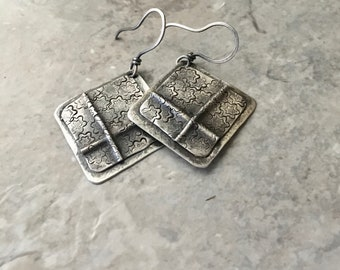 Silver earrings, folded layered metal, hammered floral texture