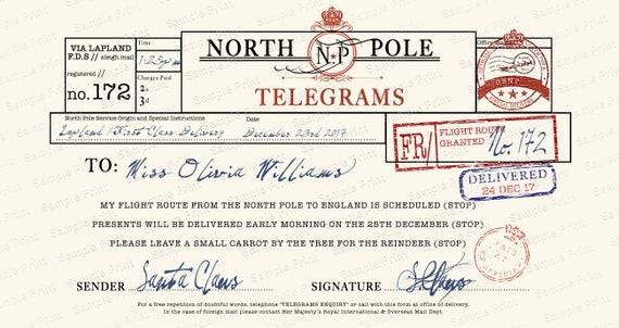 Santa telegram letter personalised christmas telegram with santa telegram letter personalised christmas telegram with wax seal and authentic vintage stamps spiritdancerdesigns Images