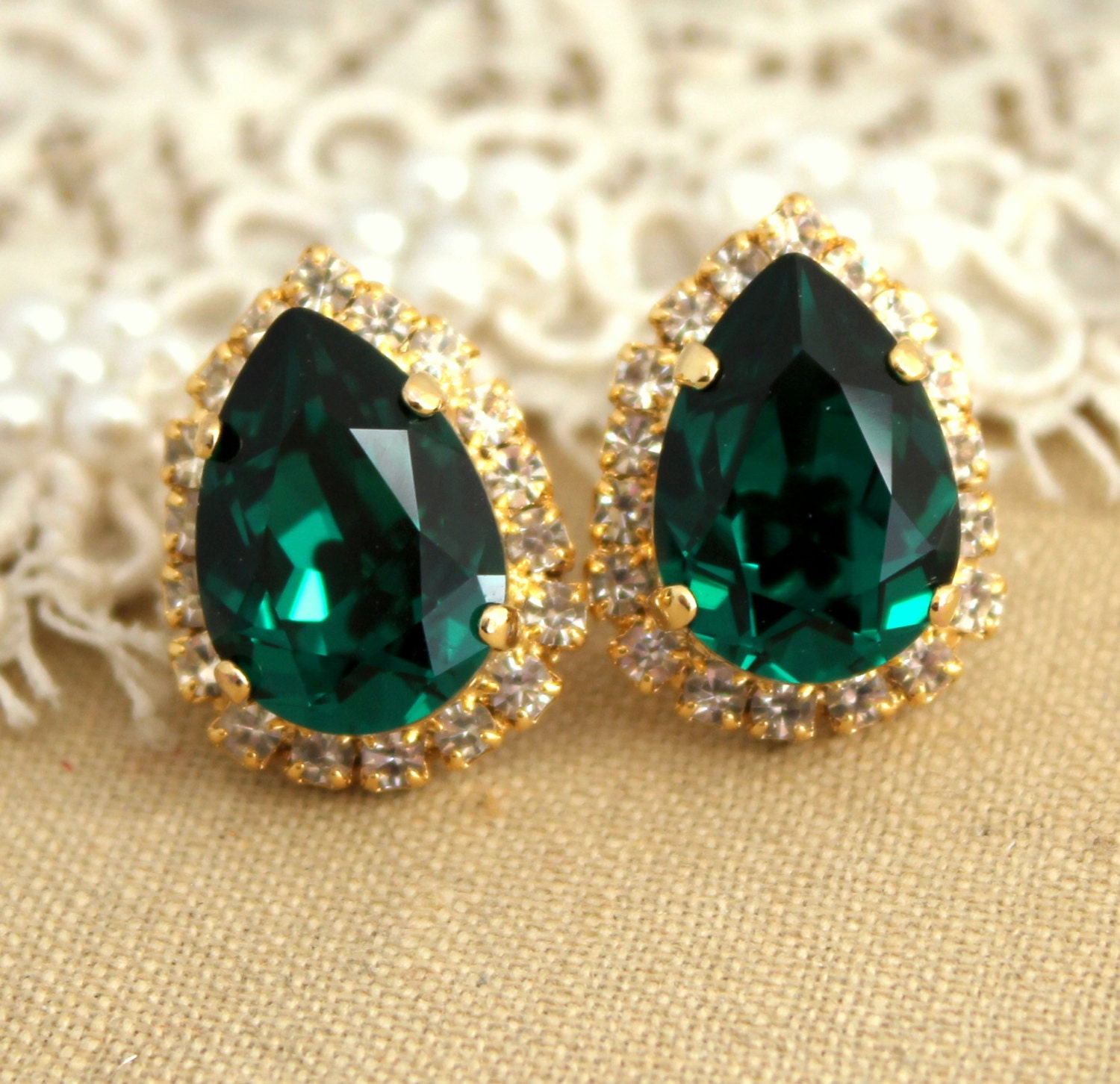 trendy stud pink swarovski rivoli emerald element green earrings studs