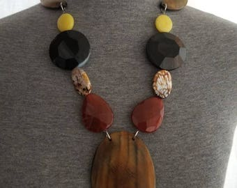 READY TO SHIP, horn necklace, quartz necklace, onyx necklace, african inspired, statement jewelry