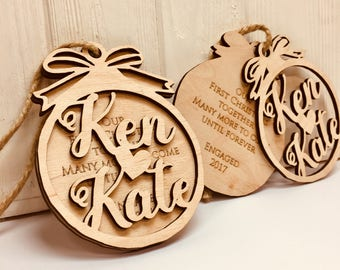 First Christmas Ornament Married Wedding Gift for Couple Wedding Ornament Christmas Ornaments Personalized Rustic Wood Mr and Mrs Ornament
