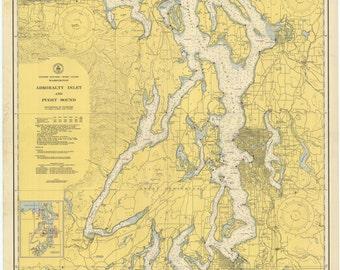 Puget Sound Map & Admiralty Inlet 1948