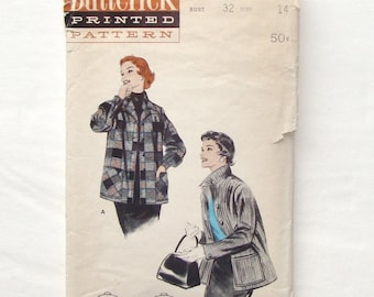 Vintage 50's Butterick Box Jacket Sewing Pattern 7044 - Size 14 (Bust 32) - Cut and Complete