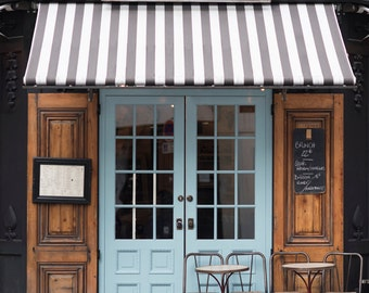 Paris Cafe Photograph Malabar Cafe Large Wall Art French Kitchen Decor Striped Awning Blue Door Travel Photograph & Paris Cafe Fine Art Photograph Georgette Cafe Chairs Large