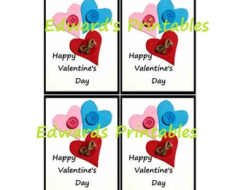 INSTANT download -VALENTINE PRINTABLE, valentine cards for kids,  4 per sheet, you print off,  school valentine, preschool valentine
