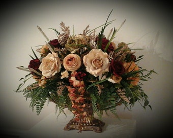 Floral Arrangement, XL Floral Centerpiece, Large Formal Silk Tuscan Decor, SHIPPING INCLUDED, Dining Room Table, Foyer, Mantel Centerpaiece