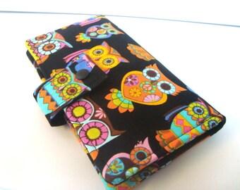 BiFold Long Wallet Clutch /Checkbook  Wallet,Coin Wallet Retro  Peace Owl Sugar Skull
