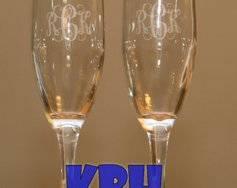 Set of 2 Monogrammed Champagne Glasses