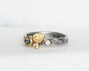 Sapphire and Diamond Bloom Ring - Size 6.75 - Green Yellow sapphire 18k Gold and Sterling Silver Petal Stacking Ring