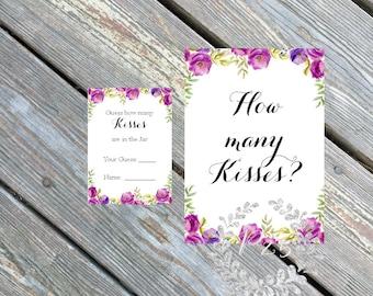 Instant Download- How many kisses?, Wedding shower game, bridal shower game, shower bingo custom, purple lavender flowers, spring