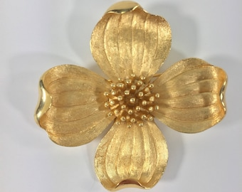 Crown Trifari Brushed Gold Flower with Polished Petal Tips Brooch