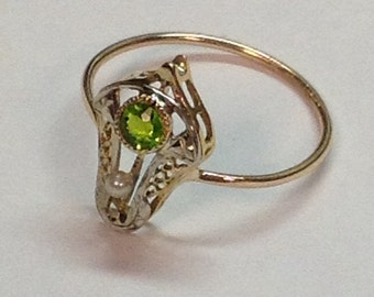 Vintage Art Nouveau 10k White and Yellow Gold Peridot and Pearl Stickpin Conversion Ring