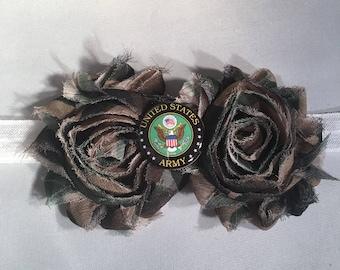 Military Baby Headband,  US Army Shabby Flower Headband, Baby Hair Accessories. Baby Girls Hair Accessories, Military Headband