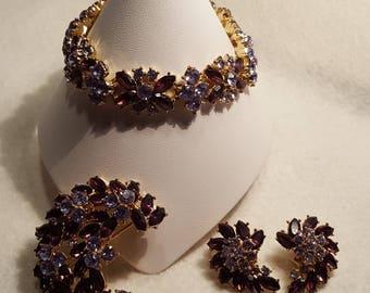 Trifari 3-Piece Plum & Lavender Vintage Jewelry Set