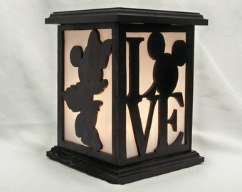 Mickey loves Minnie wooden lantern