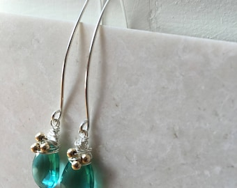Sea Green Apatite Quartz Earrings and Necklace Gift Set