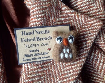 Needle felted owl brooch or pin fibre art made to order using British and merino wool tops