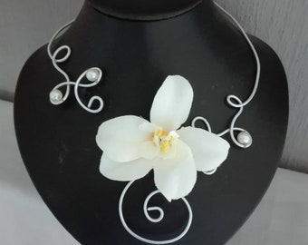 Ivory bridal necklace / silver, Silver Aluminum wire, light ivory thai Orchid beads wedding party