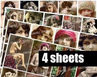 WHIMSICAL WOMEN - Digital Printable Collage Sheets - Vintage Flappers, French Nudes, Bohemian Gypsies, Victorian Children, Instant Download