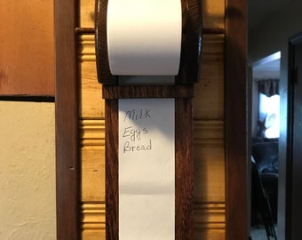 Wooden Grocery List Holder In Red Mahogany