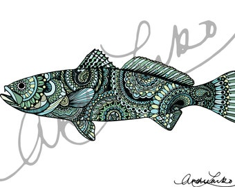 "Zentangle Sea Trout Fish Art Print 8.5""x11"""